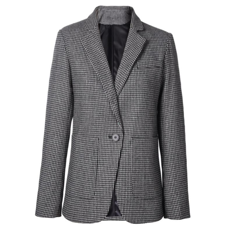 8fd6795db82 LSYSAG Women Wool Coat Tunic Suit Plaid 2018 Autumn Slim Blazer Fashion OL  Female Top Long Sleeve Office Lady Lapel Collar Cloth-in Blazers from  Women s ...
