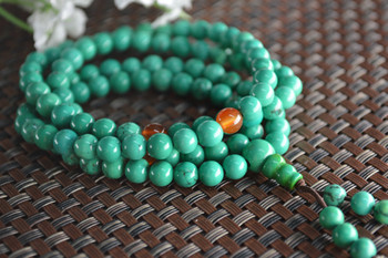 10pcs High Quality Natural Green Stone 108 Round BeadsTibetan Prayer Mala Stretch Bracelets