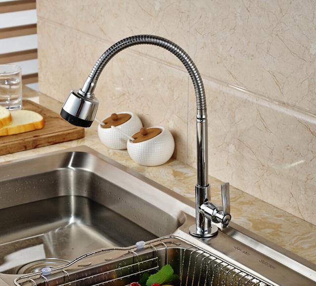 Deck Mounted Kitchen Faucet Cold Tap Chrome Brass Swivel Spout Single Handle Dual Sprayers