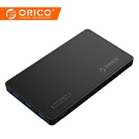 ORICO 2.5 HDD Enclosure USB 3.0 Hard Drive Case with 3 Ports USB3.0 HUB Tool Free Design Driver Not Required with 5V2A Power