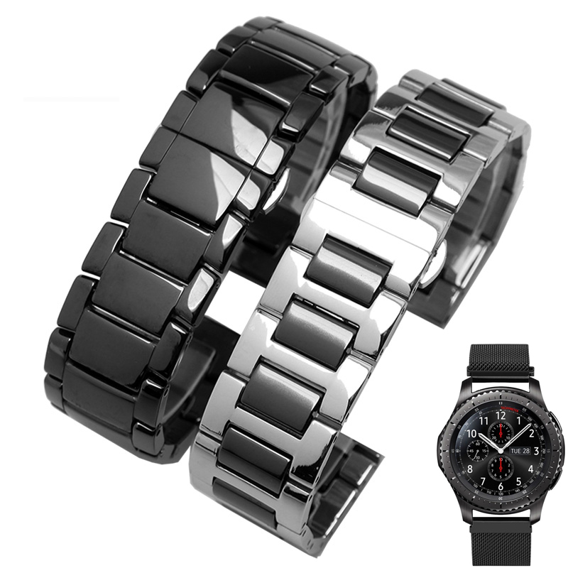 22mm Quick Release Ceramic Watch Band For Samsung Gear S3 Classic Frontier Steel Butterfly Buckle Strap Wrist Belt Link Bracelet