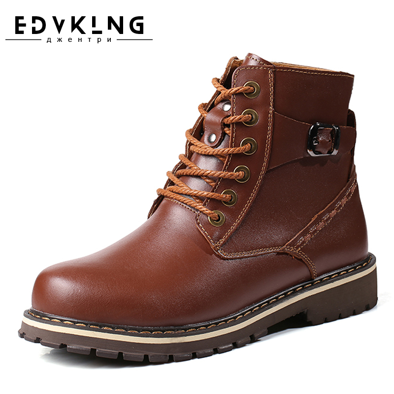 Size 38~48 Warmest Snow Boots 2017 EDVKLNG Brand Russian Style Genuine Leather Men Winter Shoes warmest genuine leather snow boots size 37 50 brand russian style men winter shoes 8815