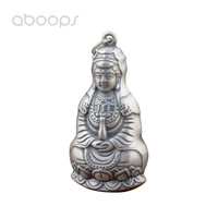 Vintage 990 Sterling Silver Buddhism Goddess Guanyin Buddha Statue Necklace Pendant for Men Women Free Shipping