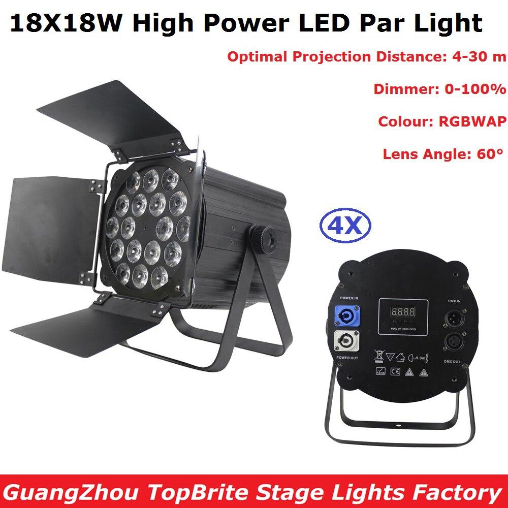 4Pack LED Flat Par 18X18W RGBWAP 6IN1 DMX Stage Lights Business Lights High Power Light Professional Stage Dj Disco Equipments