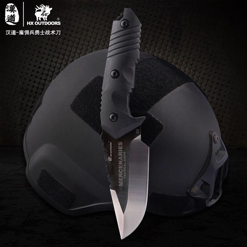 Hx outdoorshard 터프 d2 스틸 고정 블레이드 사냥 칼 야외 서바이벌 나이프 & 칼집 공장 하이킹 핫 세일-에서칼부터 도구 의
