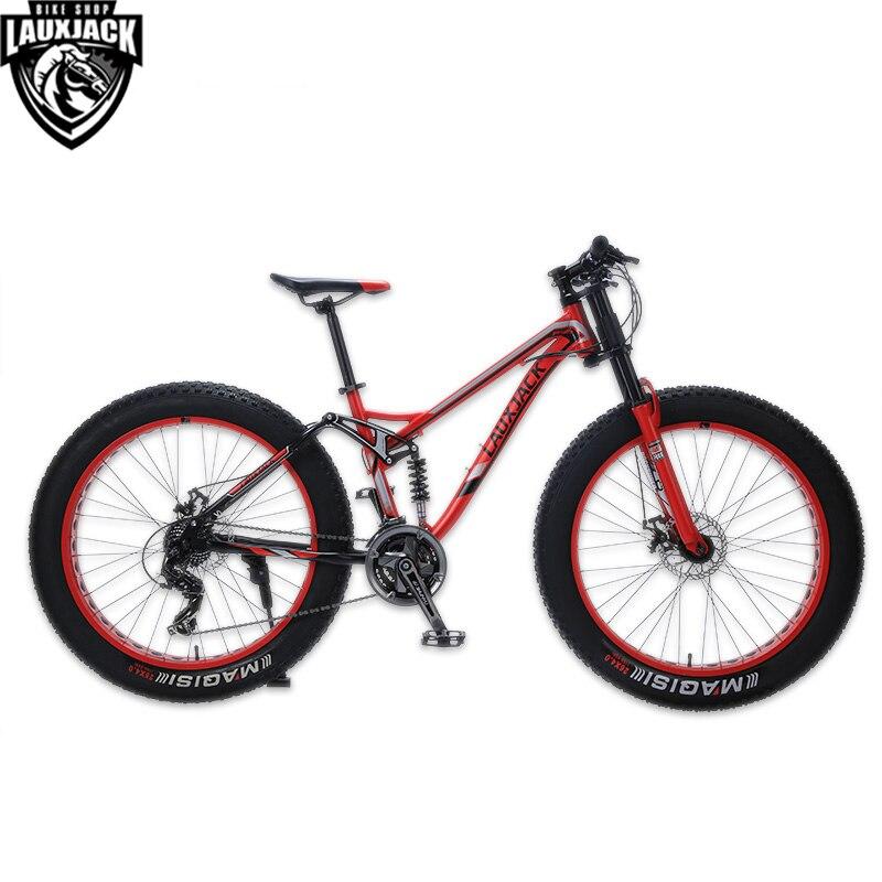 LAUXJACK Горный велосипед стальная рама двухподвесная система 24 скорости Shimano дисковые механические тормоза 26x4.0 колеса удлинённая вилка FATBIKE