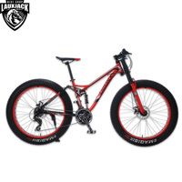 LAUXJACK Mountain Fat Bike Steel Frame Full Suspention 24 Speed Shimano Disc Brake 26x4.0 Wheel Long Fork