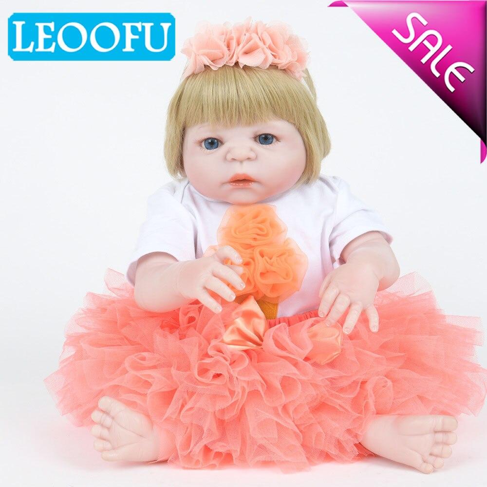LEOOFU 55 cm 22 pouces reborn bébé poupée princesse fille poupées full body bébés souples en silicone filles réaliste réel reborn jouets