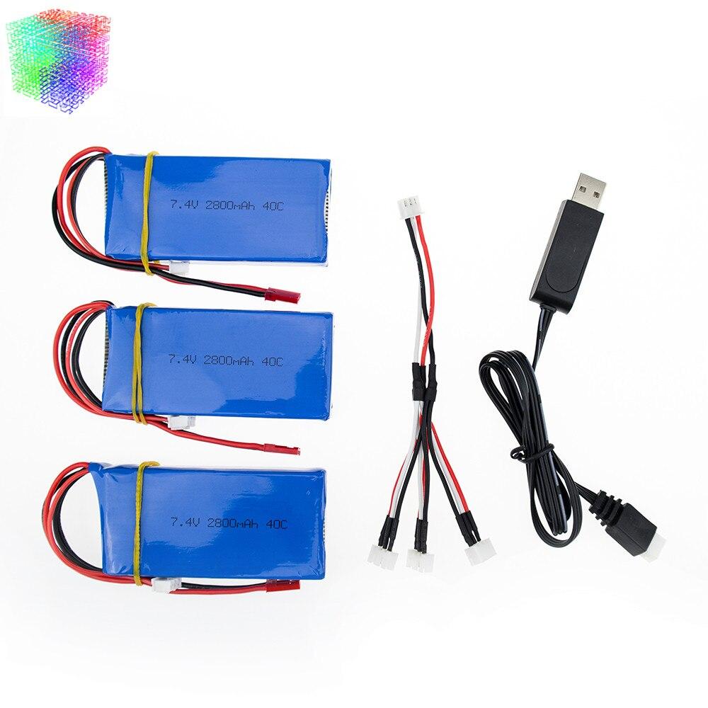 Hilbert 3pcs 7 4v 2800mAh Lipo battery 2s and USB charger for WLToys V262 V333 V323
