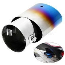 цена на New Stainless Steel Universal Blue Car Rear Exhaust Muffler Tip Pipe Auto Tail Muffler Tube Chrome Throat Liner Car Accessories