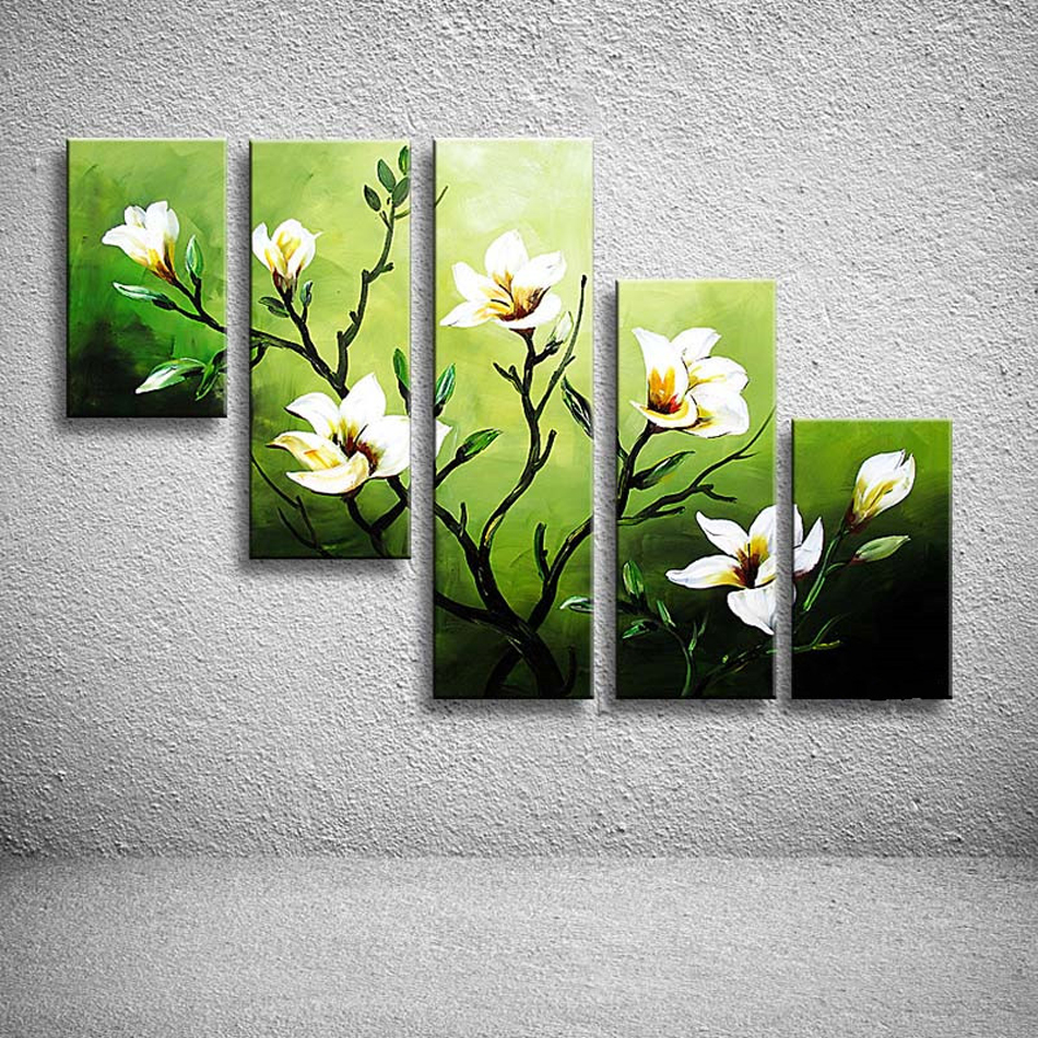 Hand Painted High Quality Abstract Oil Painting 5 Pcs Modern Camellia - Home Decor - Photo 1
