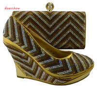 Free Shipping By DHL Fashion Italian Yellow Shoes And Bags Sets To Match For African Women