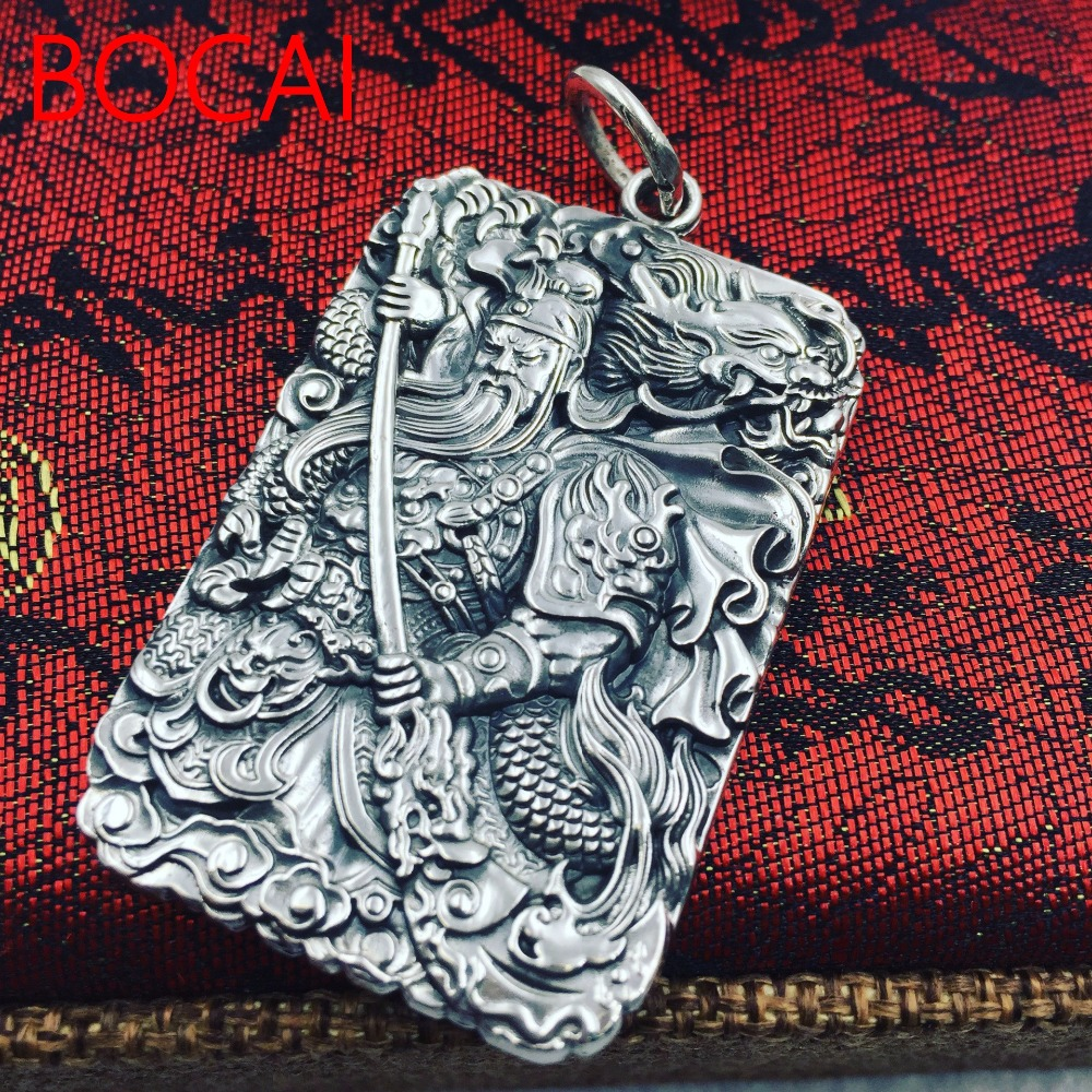 S990 fine silver domineering six words of Guan Gong Guan Yu Guan Erye manufacturers selling silver pendant 15 chinese folk bronze painted seat general guan gong yu warrior god broadsword dsd66