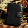 New Brand Oil Wax Genuine  leather Men Standard Three-Fold Wallet Money Purse Card Holder Zipper Photo Pocket Bag