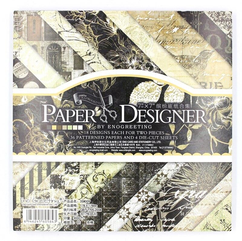 YPP ARTISANAT 36 feuilles/lot Vintage Noir floral motif creative papercraft art papier à la main scrapbooking kit set livres