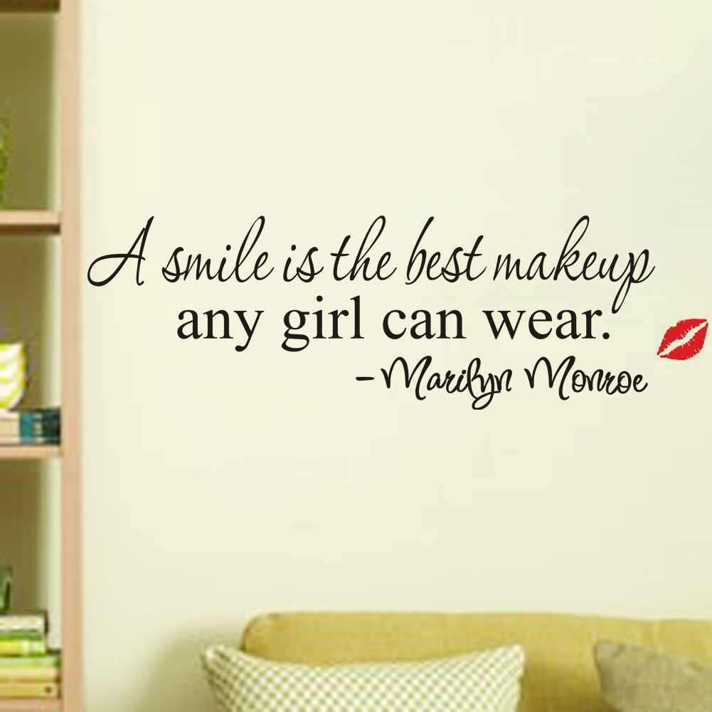 A smile is the best makeup marilyn monroe quotes wall stickers a smile is the best makeup marilyn monroe quotes wall stickers girls room decoration vinyl decals home decor diy mural art 8129 in wall stickers from home amipublicfo Image collections
