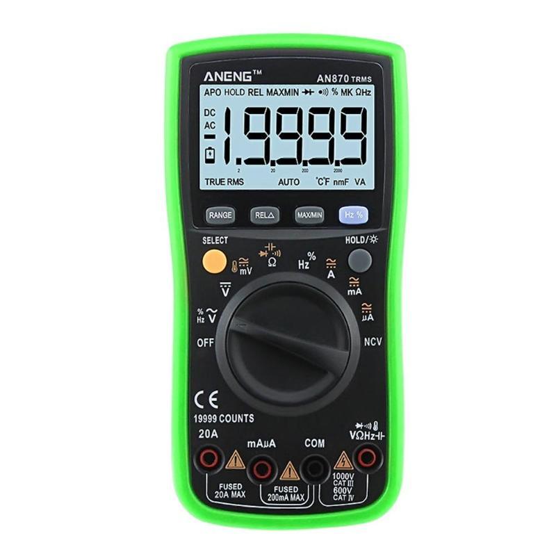 AN870 19999 COUNTS True RMS Range Digital Multimeter NCV Ohmmeter AC/DC Voltage Ammeter Current Meter Transistor Tester