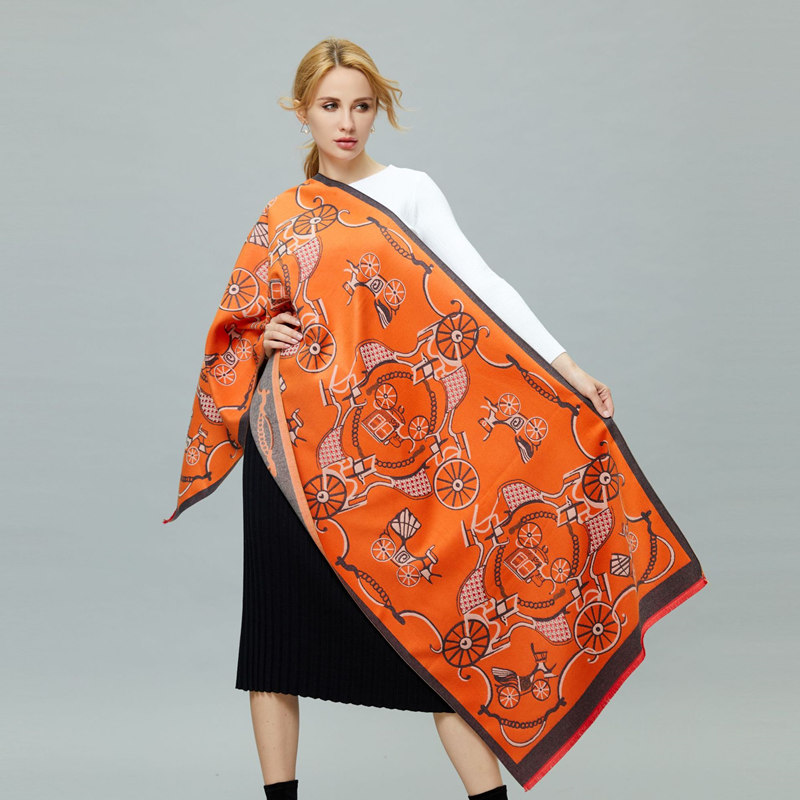 2019 European And American Style Ladies Fashion Popular Carriage Pattern Printing Cashmere Shawl Warm Scarf Best Gift