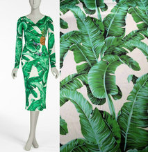 145cm green banana leaf printing fabric diy dress scarf satin clothing polyester pajamas wholesale cloth