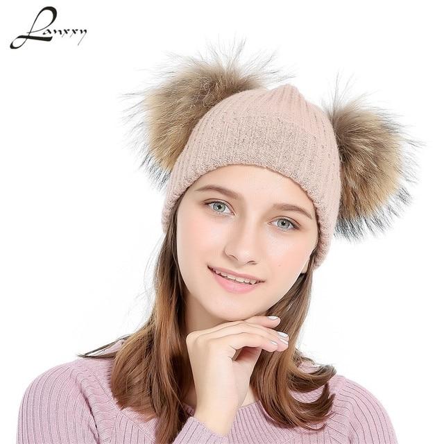 e523342774322 Lanxxy Real Mink Fur Pompom Cap Women Winter Hats Girls Knitted Wool Cotton  Hats Two Pom Poms Skullies Beanies Bonnet Female Cap