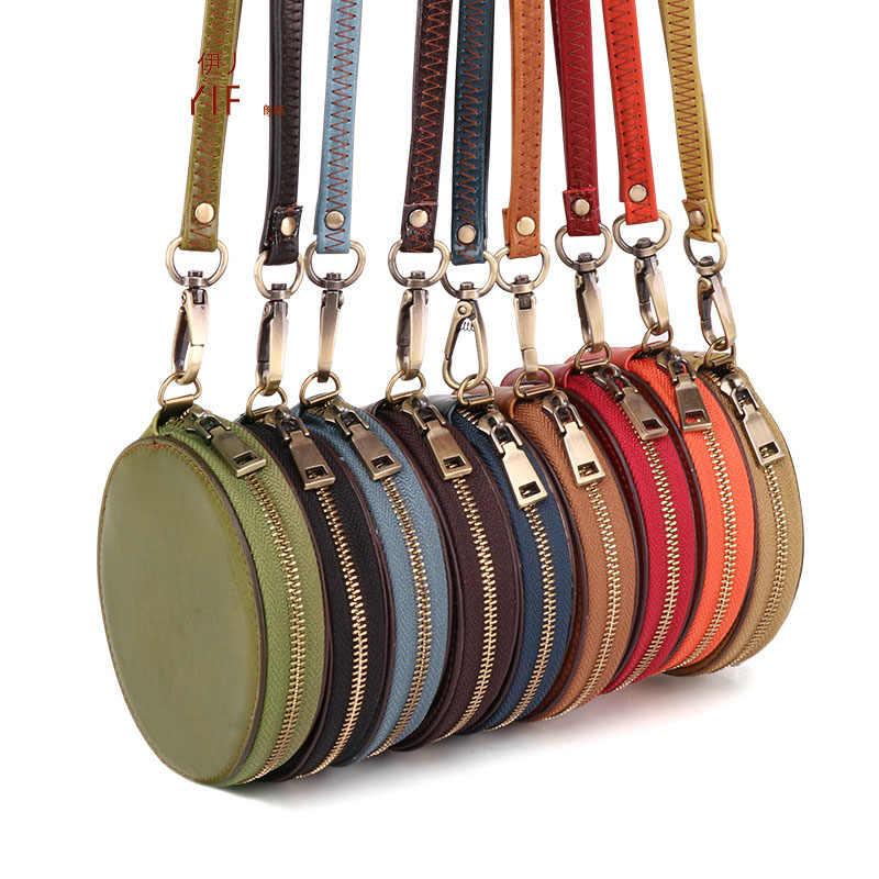 Porte-monnaie femmes rond solide porte-monnaie fermeture éclair sac changement porte-clés avec poche petite Mini mallette de rangement pochette sacs d'argent