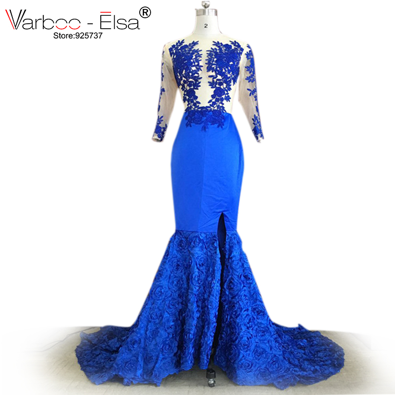 Royal Blue Mermaid dress Split Prom Gowns 2017 Sexy