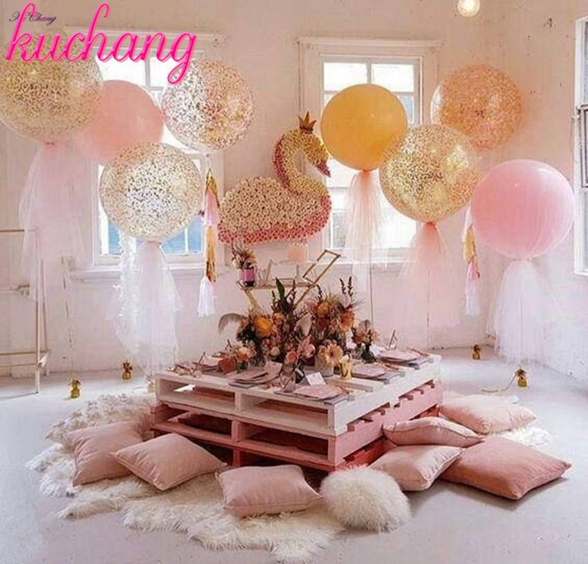 36inch Large Latex Balloons Or Rose Gold Pink Blue Confetti Or Tassels Adult Wedding Decoration Happy Birthday Party Balloons Ballons Accessories Aliexpress