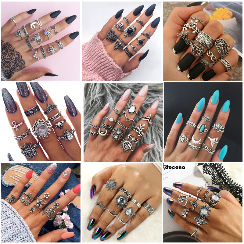 Docona Boho Finger Jewelry Crown Geometric Rhinestone Leaf Women Ring Sets Hollow Stacking Finger Rings Vintage Silver Color
