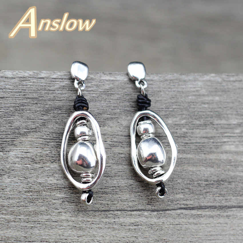 Anslow 2018 New Design Charm Bijoux Beads Handmade DIY Wrap Wire Vintage Leather Earring For Women Lady Female Gift LOW0076AE