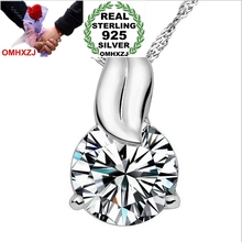 OMHXZJ Wholesale Qianhe 3 carat AAA zircon 925 sterling silver star jewelry woman girl fit Chain Necklace pendant Charms PE21