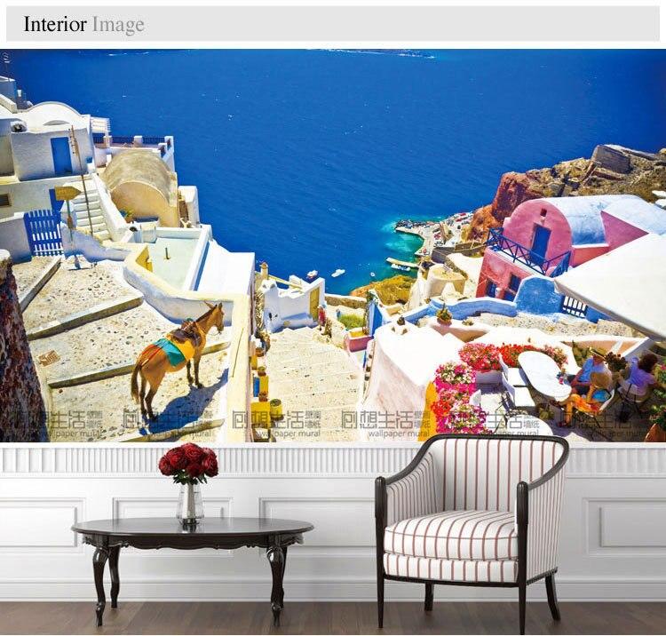 Mediterranean landscape mural 3d wallpaper 3d wall tv for Mural 3d wallpaper