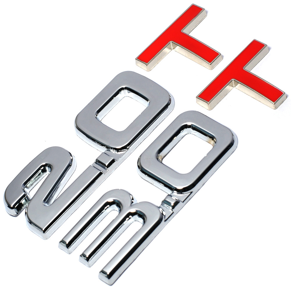 HOT Car 3D Metal 2.0 3.0 2.0T 3.0T T Logo Sticker Emblem Badge Decals for Mazda KIA Renault TOYOTA BMW Ford Focus Car Styling diy 3d explorer fixed letters hood emblem chrome logo badge sticker for ford explorer sport car styling abs stickers
