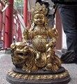 Shitou 00267 24 Chinesischen Buddhismus Bronze kupfer geschnitzte Lion Zambala Vaishravana buddha statue-in Statuen & Skulpturen aus Heim und Garten bei