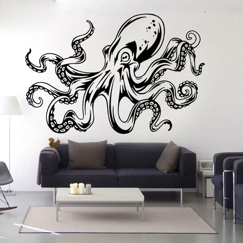 Home supplies unique sitting room living room decorative art wall stickers black octopus - Show pics of decorative sitting rooms ...