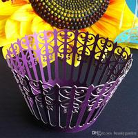 120 stks/partij Cake Cupcake Papier Omliggende Rand Laser Cut Verpakking Wedding Party Sweetmeat Wrapper Lamp Ontwerp wc558