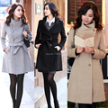 Hot Lady Girls Fashion Korean Style Slim Winter Noble Long Trench Coat