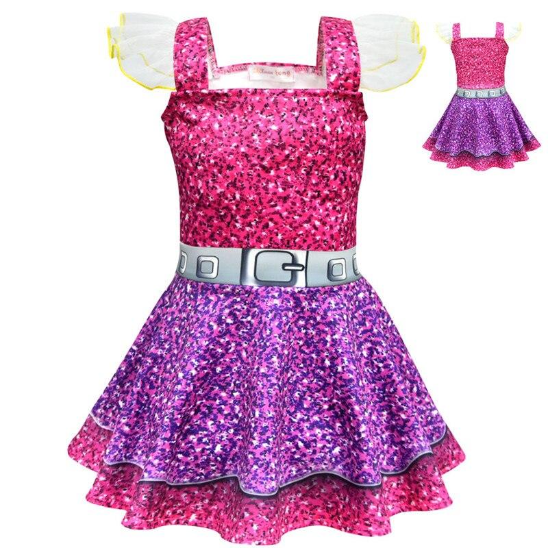 LOL Bonecas da menina Vestido Vestido de Festa Para A Menina do Aniversário do Dia Das Bruxas Natal Crianças Traje Cosplay Lol Roupas 3 6 8 10Y