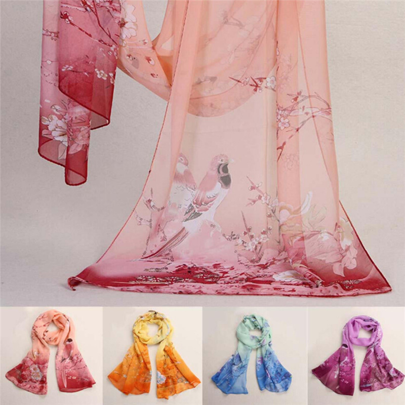 Women Chiffon Silk   Scarf   Animal Bird Printed   Scarves     Wrap   Shawl Swimsuit Cloak Mujer Foulard Stoles Beach Silk   Scarf   160*50CM