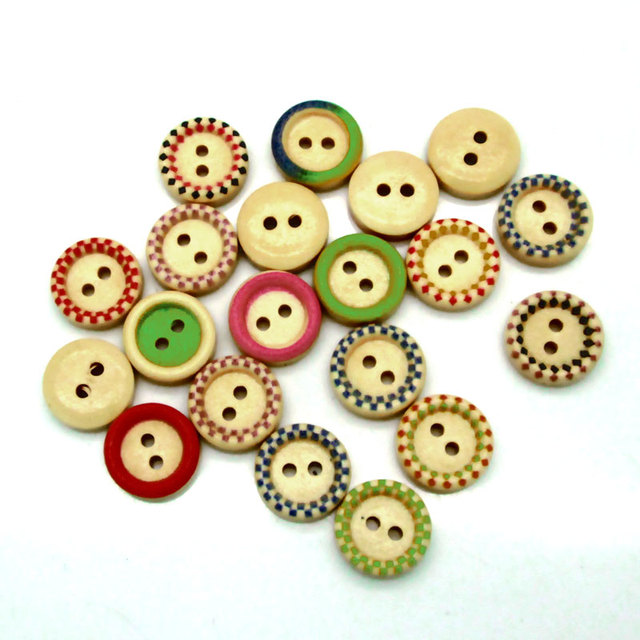 New 100 PCS Mixed 2 Holes Round Wood Buttons Clothing Sewing DIY Craft Scrapbook Decoration Accessories 13x13mm