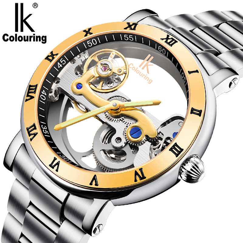 IK Colouring Waterproof Luxury Men's Skeleton Hollow Automatic Self Wind Analog Golden Stainless Strap Mechanical Wrist Watch k colouring women ladies automatic self wind watch hollow skeleton mechanical wristwatch for gift box