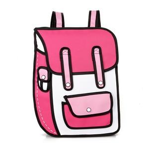 Image 2 - 2020 yeni 3D atlama tarzı 2D çizim karikatürlü kese kağıdı komik sırt çantası Messenger Tote moda sevimli öğrenci çantaları Unisex Bolos