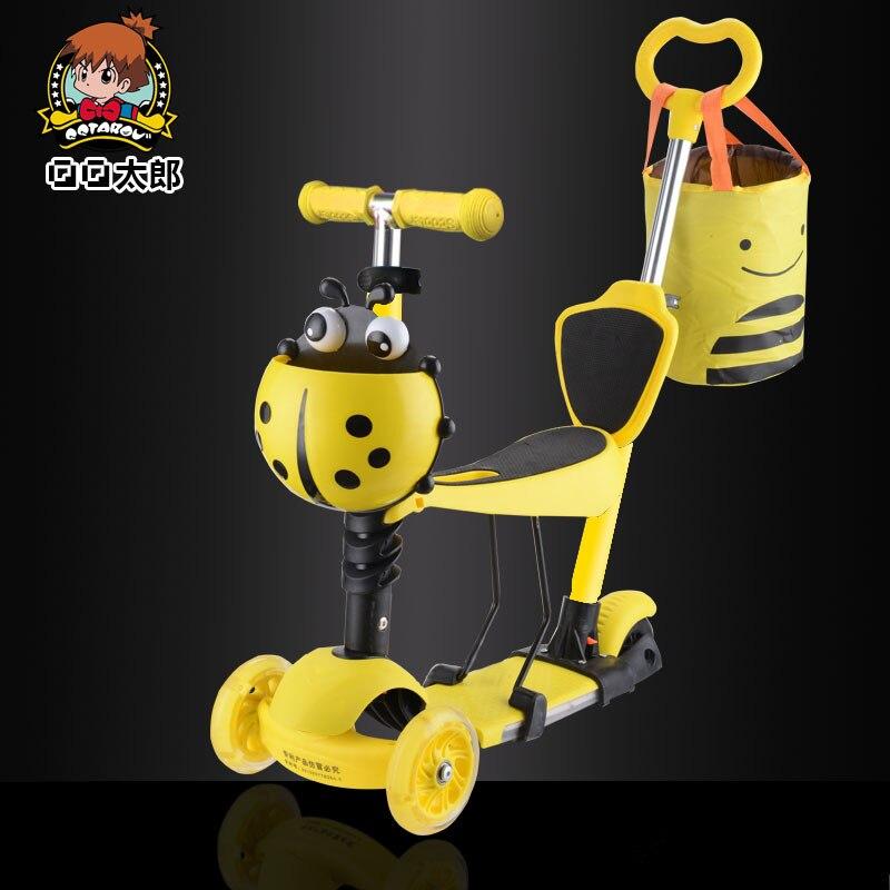 Prix pour 5 dans 1 tricycle scooter bébé avec ajuster poignée bar et siège PU s'allume roues Acheter 1 obtenir 9