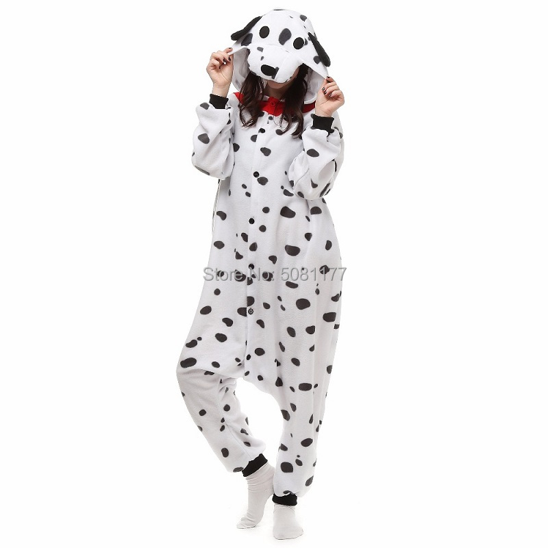Unisex Adult Animal Dalmatian Onesie Pajamas One-Piece Spotty Dog Kigurumi Costume Pijama Sleepwear