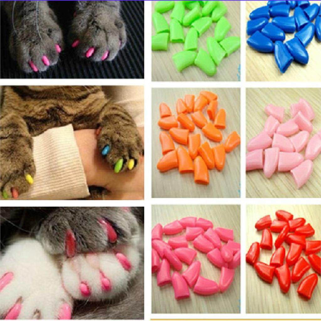 20pcs Pet Cat Paw Claw Control Nail Caps Covers Protector Protective Colorful Non-toxic Safety Practical
