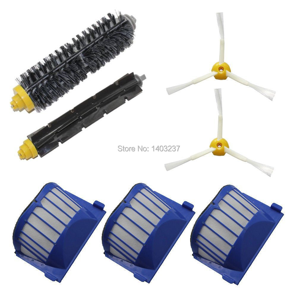 Aero Vac Filter Bristle Brush Flexible Beater Brush 3-Armed Side Brush Pack Kit for iRobot Roomba 600 Series (620 630 650 660) aero vac filter bristle brush flexible beater brush 3 armed side brush tool for irobot roomba 600 series 620 630 650 660
