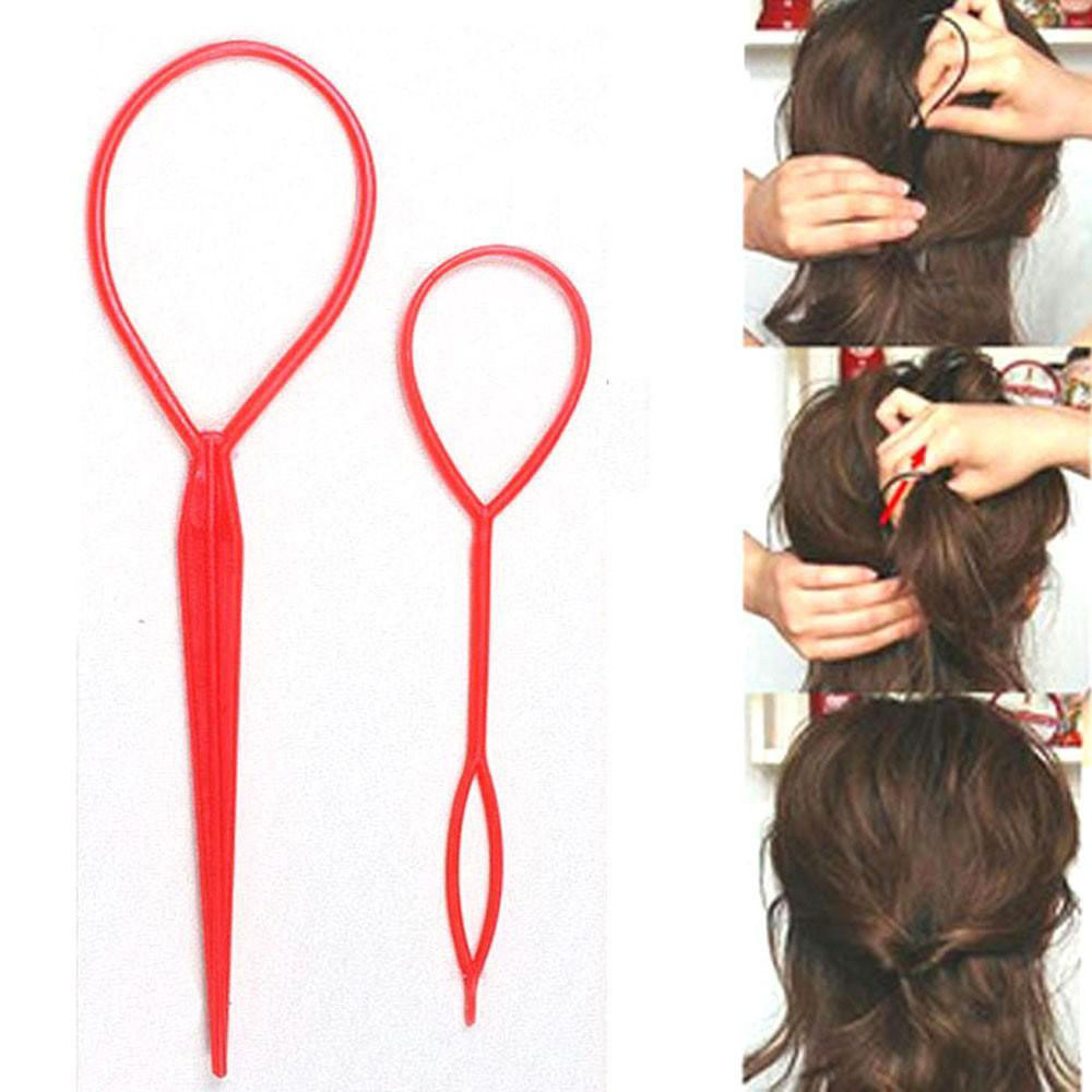 2PCS New Fahion Hair Styling Tools Hair Accessories Hair Pin Disk For Women Girls Tail Clip DIY Ponytail Creator Plastic Loop