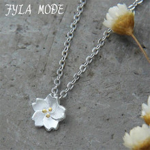 925 Sterling Silver Sakura Flower Necklaces & Pendants Cherry Blossoms With Chain Choker Necklace Jewelry Collar Colar FYS067