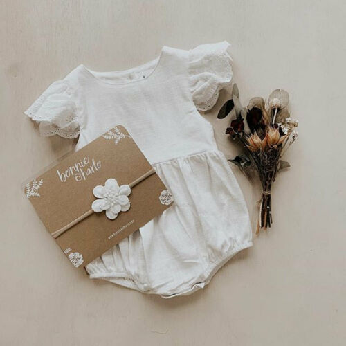 2019 Summer Toddler Baby Girl Solid Color Lace Patchwork Hollow Out Romper Jumpsuit Casual Outfits Clothes Hot Sale