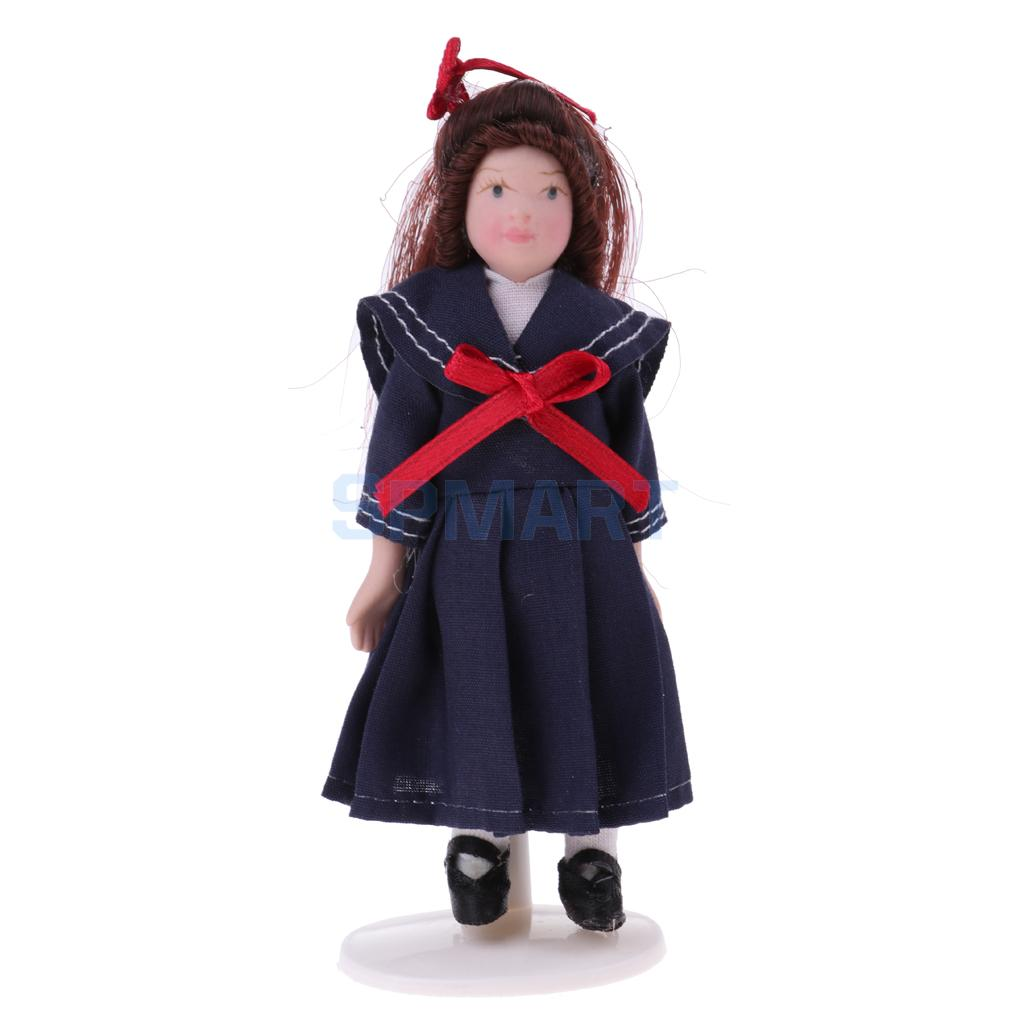 MagiDeal Cute 1/12 Miniature Porcelain Doll Little Girl In School Skirt for Dollhouse People Figures Decor Home Office Ornament