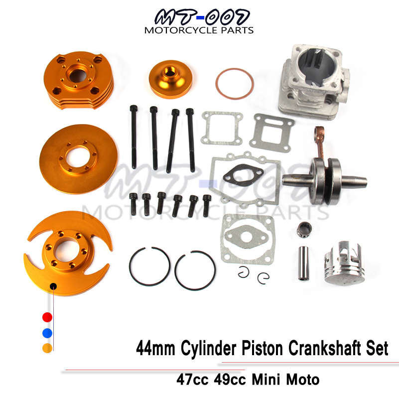 Hohe Leistung Big Bore Kit 44mm Zylinder Kolben Kurbelwelle Set für 47cc 49cc Mini moto Dirt <font><b>Pocket</b></font> <font><b>Bike</b></font> ATV quad Mini moto image
